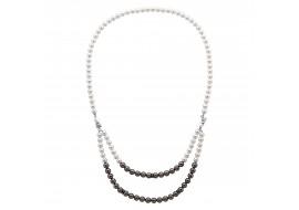 Naszyjnik srebrny z perłami...